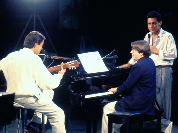 Edu Lobo, Tom Jobim e Chico Buarque (Foto: TV Globo)