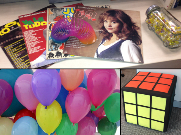 Balões coloridos, discos de vinil e o puff 'cubo mágico' vão deixar sua festa no clima (Foto: Divulgação)