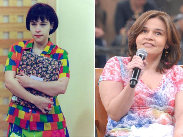 Claudia Rodrigues em 'Caça Talentos' e atualmente (Foto: divulgação)